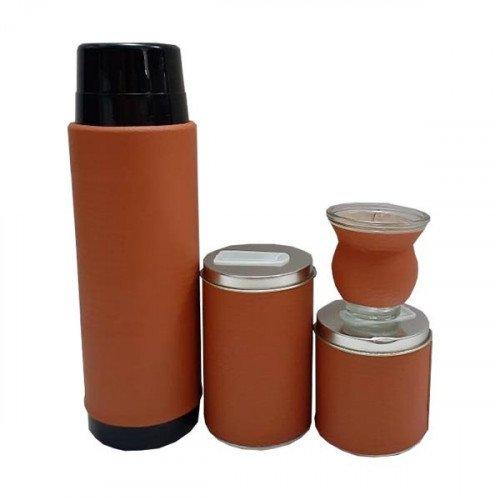 Set latas lisas con termo vidrio