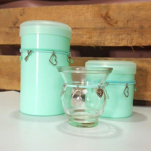 Set latas plasticas con mate vidrio cinta chik