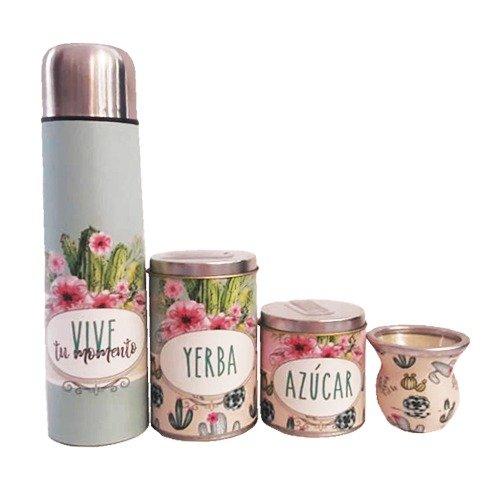 Set latas diseño con termo de acero