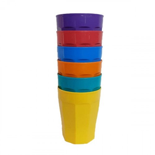 Vaso facetado color x6
