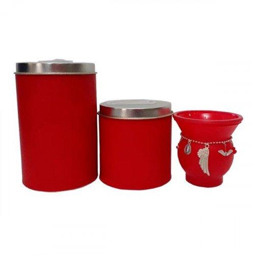 Set latas c/ mate vidrio chik